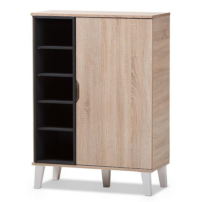 Alternate image 1 for Baxton Studio Adelina 1-Door Wood Shoe Cabinet in Light Brown