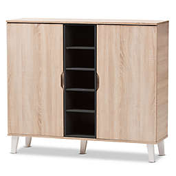 Baxton Studio Adelina 2-Door Wood Shoe Cabinet in Light Brown