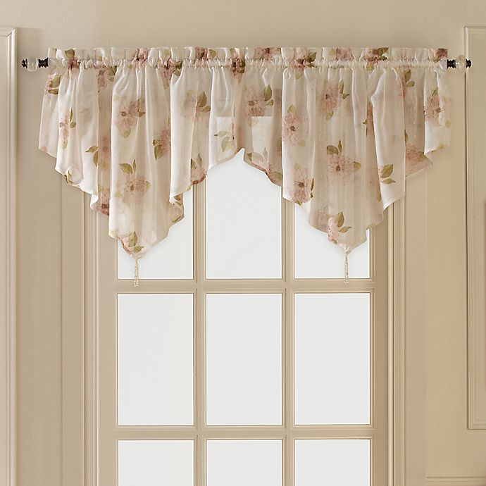 Alternate image 1 for Water Lily Scroll Ascot Window Valance in Pink