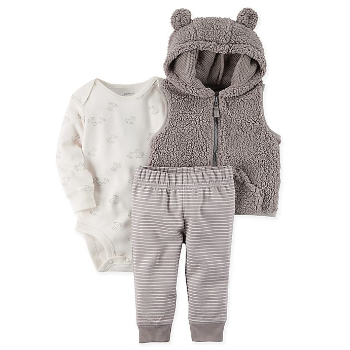 7833f44f9 carter s® 3-Piece Sherpa Little Vest Set in Grey