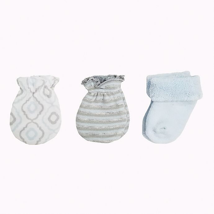 bc38c0845 Sterling Baby Preemie 3-Pack Sock and Mitt Set in Blue