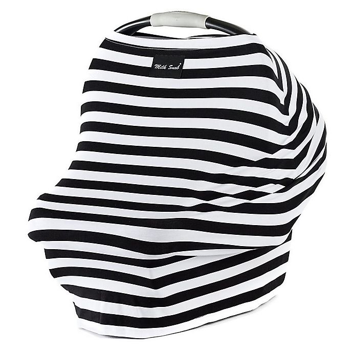 Alternate image 1 for Milk Snob® Multi-Use Car Seat Cover in Black/White Stripe