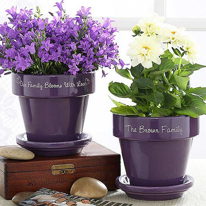 Alternate image 1 for Our Family Blooms Flower Pot in Purple