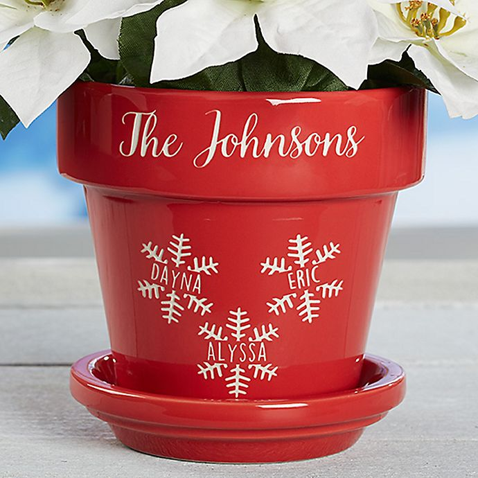 Alternate image 1 for Falling Snowflake Family Flower Pot