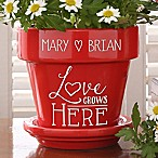 Love Grows Here Couples Flower Pot