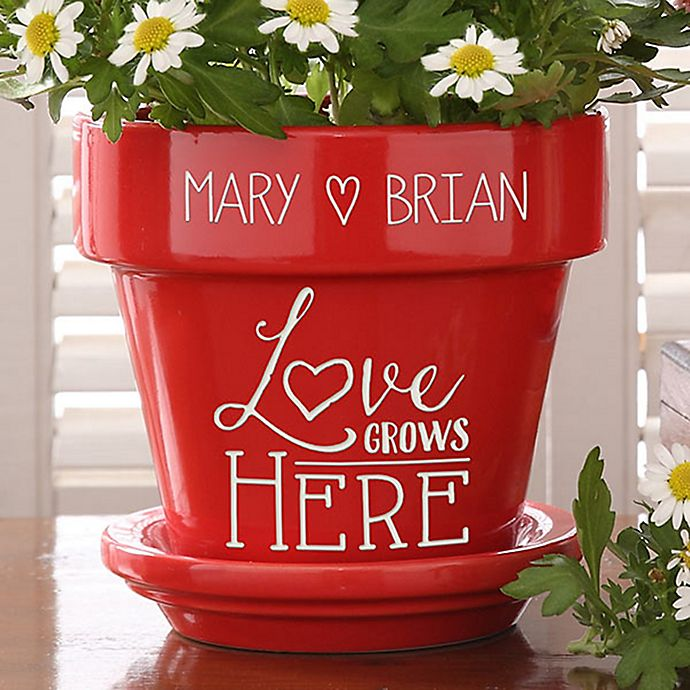 Alternate image 1 for Love Grows Here Couples Flower Pot