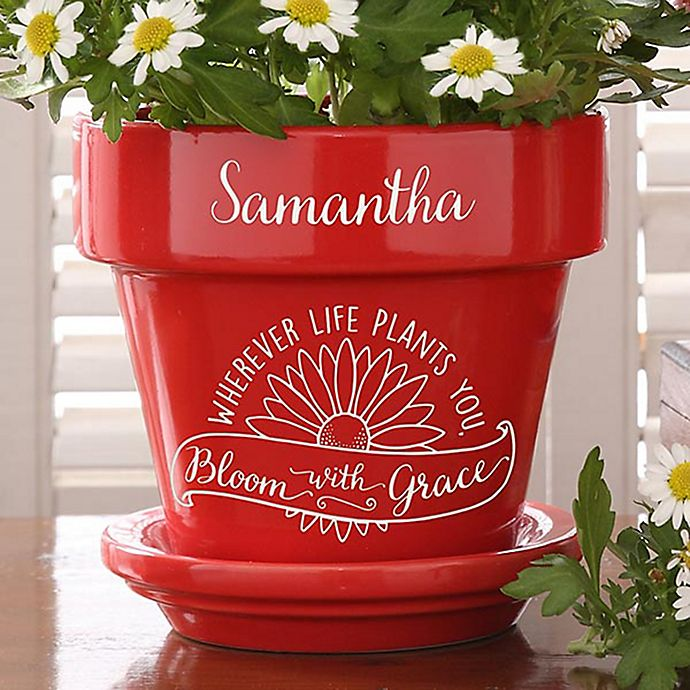 Alternate image 1 for Inspiration to Grow Personalized Flower Pot in Red