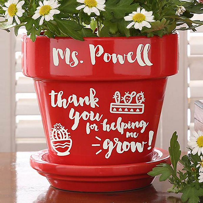 Alternate image 1 for Seeds of Knowledge Flower Pot in Red