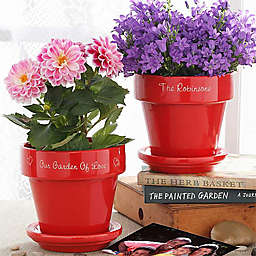Our Family Blooms Flower Pot in Red