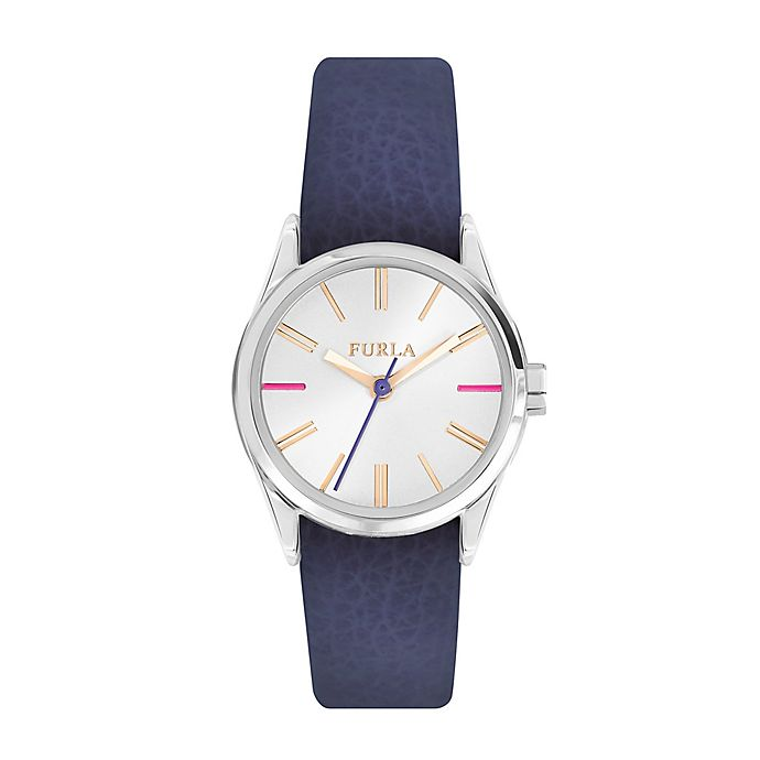Alternate image 1 for Furla Eva Ladies' 35mm Watch in Stainless Steel with Blue Leather Strap