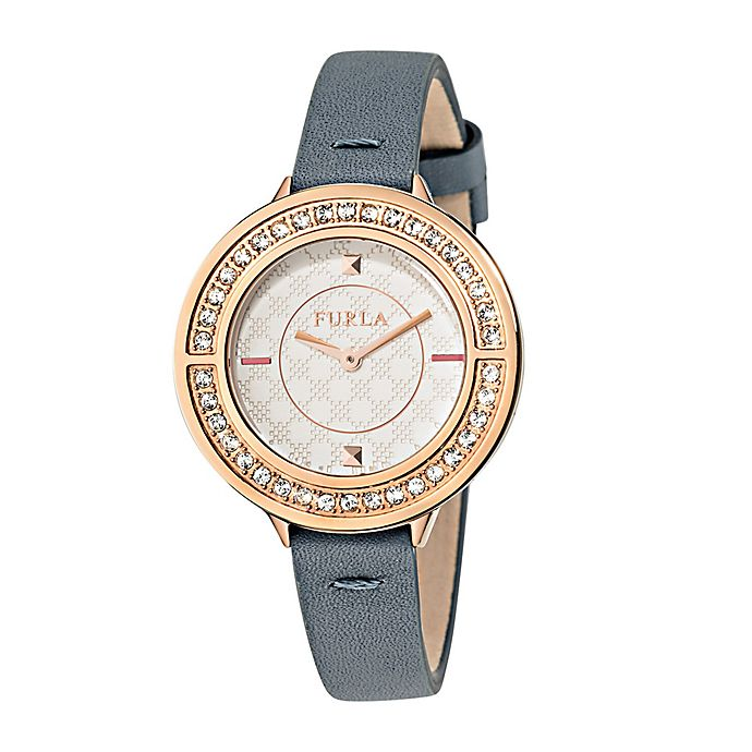 Alternate image 1 for Furla Club Ladies' 34mm Watch in Rose Goldtone Stainless Steel with Grey Leather Strap