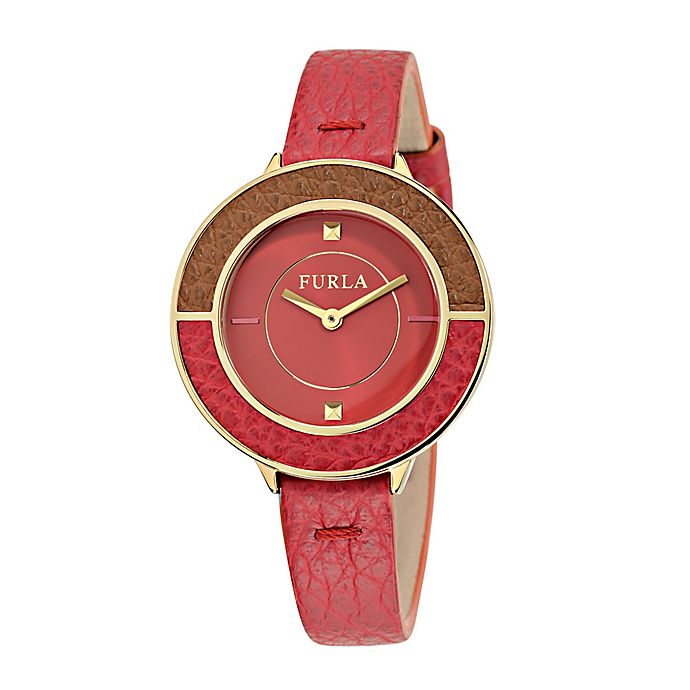 Alternate image 1 for Furla Club Ladies' 34mm Watch in Goldtone Stainless Steel with Red Leather Strap