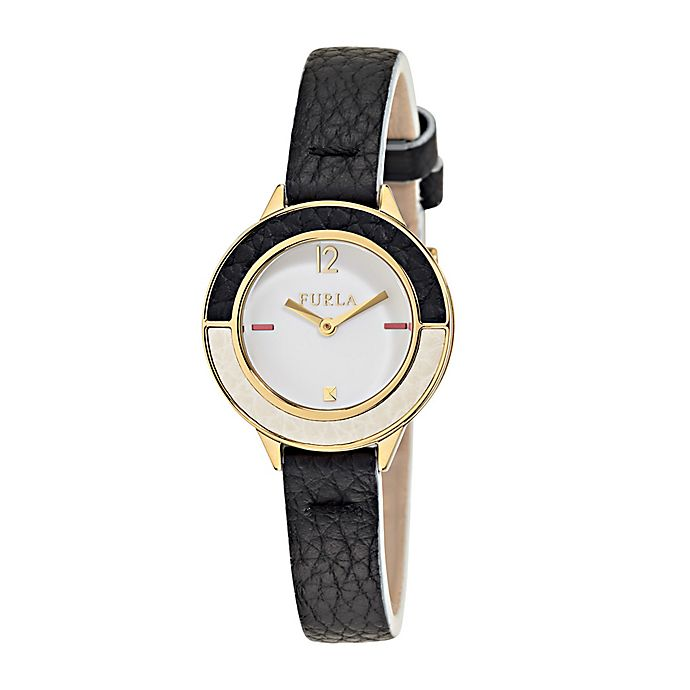 Alternate image 1 for Furla Club Ladies' 26mm Watch in Goldtone Stainless Steel with Black Leather Strap