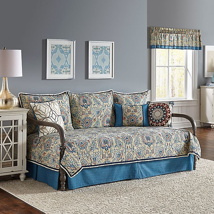 Waverly 174 Castleford Reversible Daybed Quilt Set In Blue