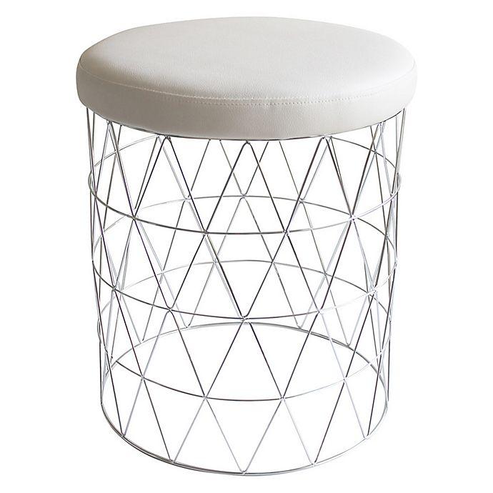 Incredible Taymor Urban Modern Cosmo Stool In Chrome White Bed Bath Machost Co Dining Chair Design Ideas Machostcouk