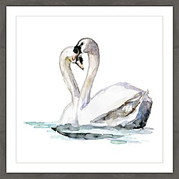Marmont Hill Swan Love 24-Inch Square Framed Wall Art
