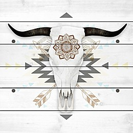 Marmont Hill Brave Skull 18-Inch x 18-Inch White Wood Wall Art
