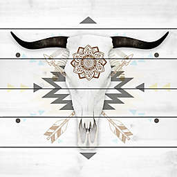 Marmont Hill Brave Skull 24-Inch x 24-Inch White Wood Wall Art