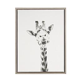Kate And Laurel Sylvie Giraffe 18-Inch x 24-Inch Grey Framed Canvas Wall Art