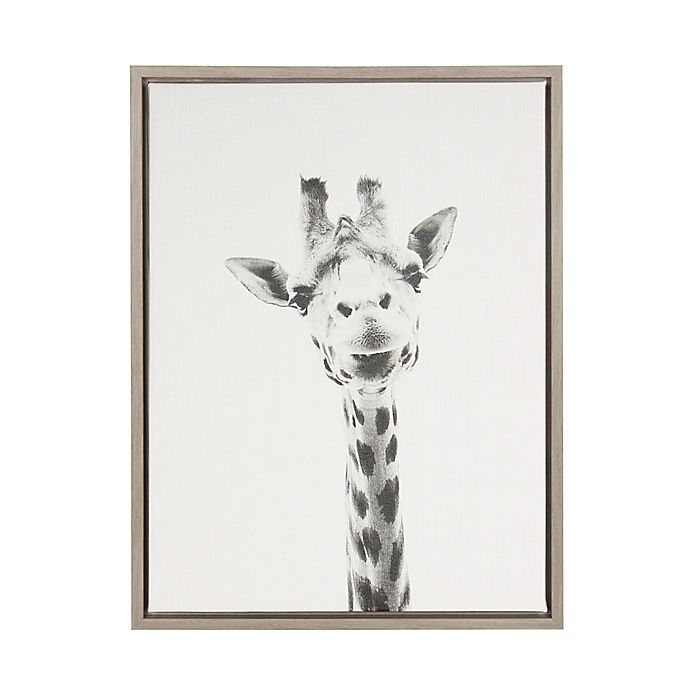 Alternate image 1 for Kate And Laurel Sylvie Giraffe 18-Inch x 24-Inch Grey Framed Canvas Wall Art