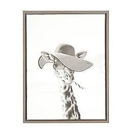 Kate And Laurel Sylvie Giraffe in Hat 18-Inch x 24-Inch Grey Framed Canvas Wall Art