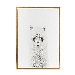 Kate and Laurel Sylvie Alpaca 18-Inch x 24-Inch Gold Framed Canvas Wall Art