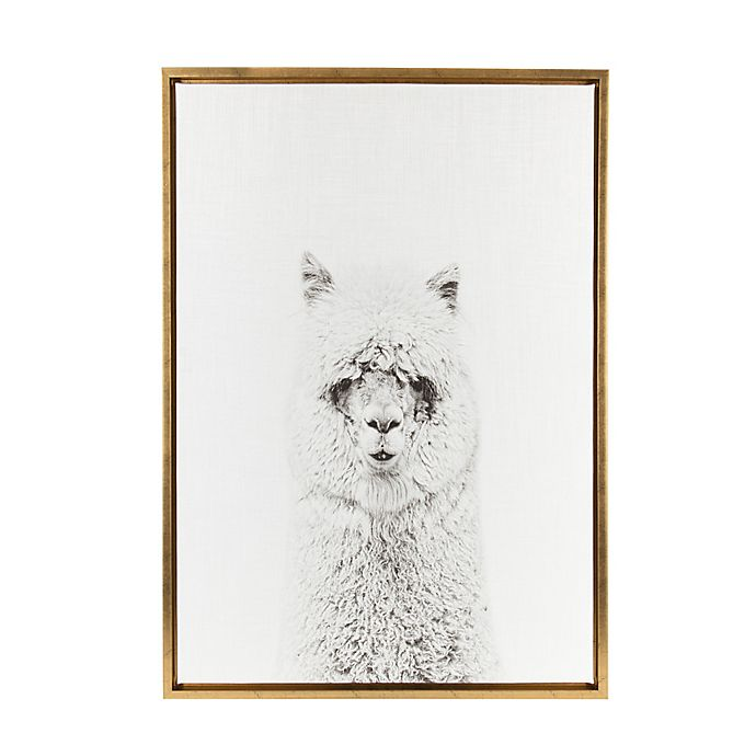 Alternate image 1 for Kate and Laurel Sylvie Alpaca 18-Inch x 24-Inch Gold Framed Canvas Wall Art