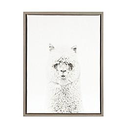 Kate And Laurel Sylvie Hairy Alpaca Grey Framed Canvas Wall Art