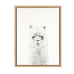 Kate And Laurel Sylvie Hairy Alpaca Natural Framed Canvas Wall Art