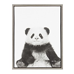 Kate and Laurel Panda Canvas in Black and White with Grey Frame