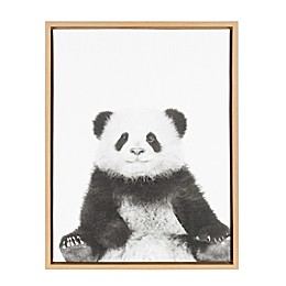 Kate and Laurel Sylvie Panda 18-Inch x 24-Inch Natural Framed Canvas Wall Art