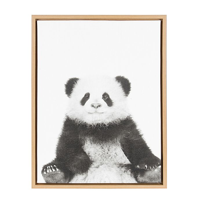 Alternate image 1 for Kate and Laurel Sylvie Panda 18-Inch x 24-Inch Natural Framed Canvas Wall Art