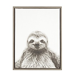 Kate and Laurel Sylvie Sloth 18-Inch x 24-Inch Grey Framed Canvas Wall Art