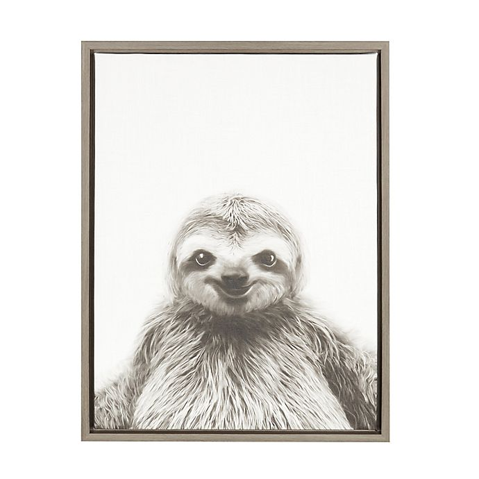 Alternate image 1 for Kate and Laurel Sylvie Sloth 18-Inch x 24-Inch Grey Framed Canvas Wall Art