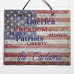 Patriotic Family Horizontal Slate Plaque