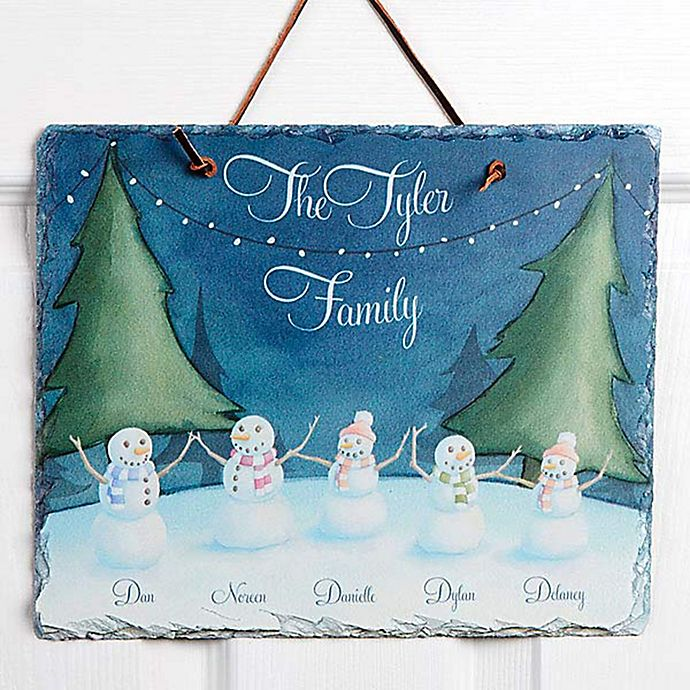 Alternate image 1 for Our Snowman Family Watercolor Slate Sign