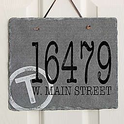 Initial Stamped Address Horizontal Slate Sign
