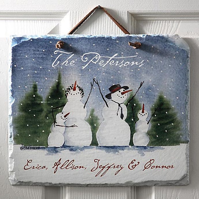 Alternate image 1 for Snow Family Horizontal Slate Sign