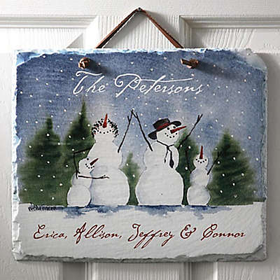 Snow Family Horizontal Slate Sign