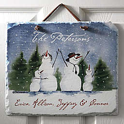 Snow Family11.5-Inch x 9.5-Inch Personalized Slate Sign