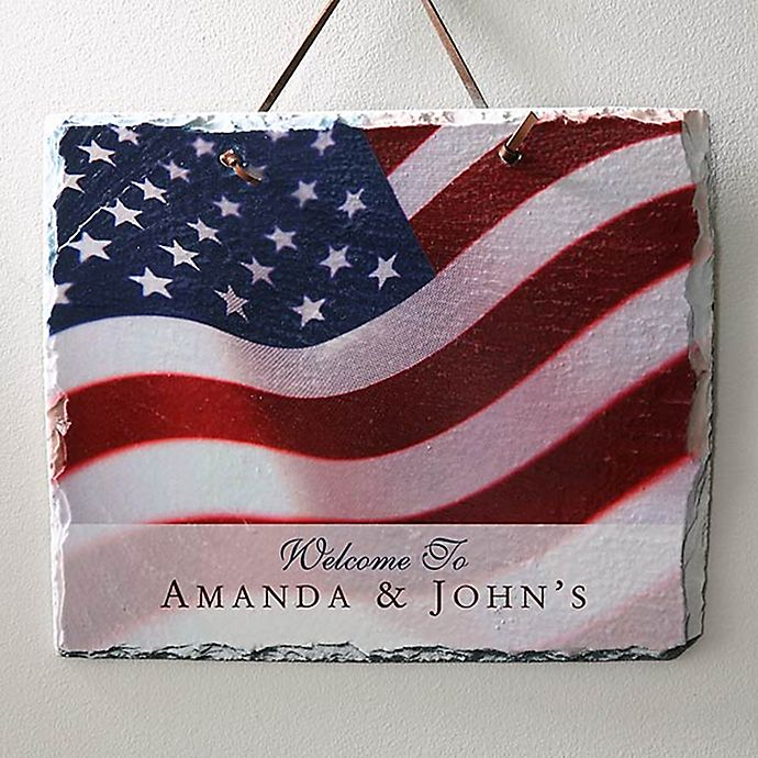 Alternate image 1 for Stars & Stripes 11.5-Inch x 9.5-Inch Personalized Slate Sign