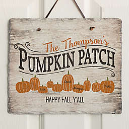 Family Pumpkin Patch 11.5-Inch x 9.5-Inch Personalized Slate Sign