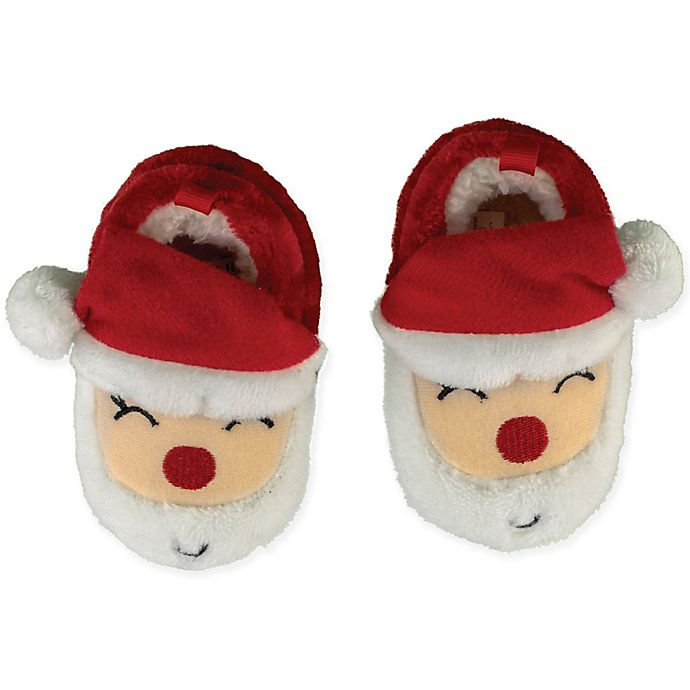Alternate image 1 for Sleepy Time Size 12-18M Santa Face Slipper in Red
