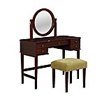 Linon Home Chloe 2-Piece Vanity Set in Walnut