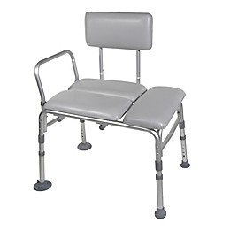 Drive Medical Padded Seat Transfer Bench in Grey
