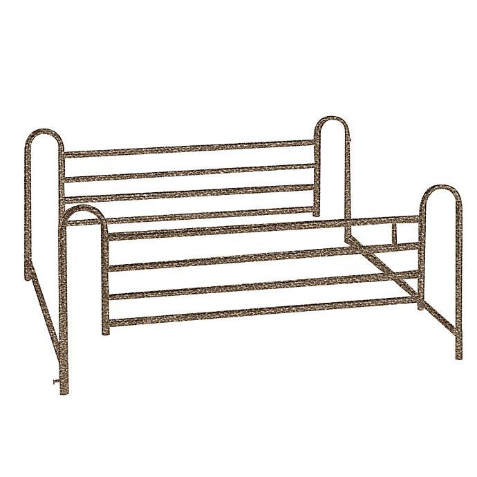 Alternate image 1 for Drive Medical Full Length Hospital Bed Side Rails in Brown