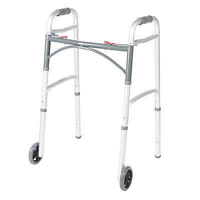 Drive Medical Deluxe Two-Button Folding Walker with Wheels in Silver