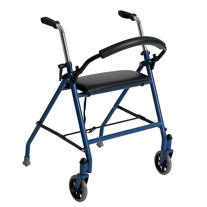 Alternate image 1 for Drive Medical Standard Two-Wheeled Walker with Seat in Blue