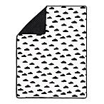 The Peanut Shell® Black Clouds Pom Pom Blanket in Black/White