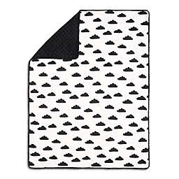 The Peanutshell™  Black Clouds Pom Pom Blanket in Black/White